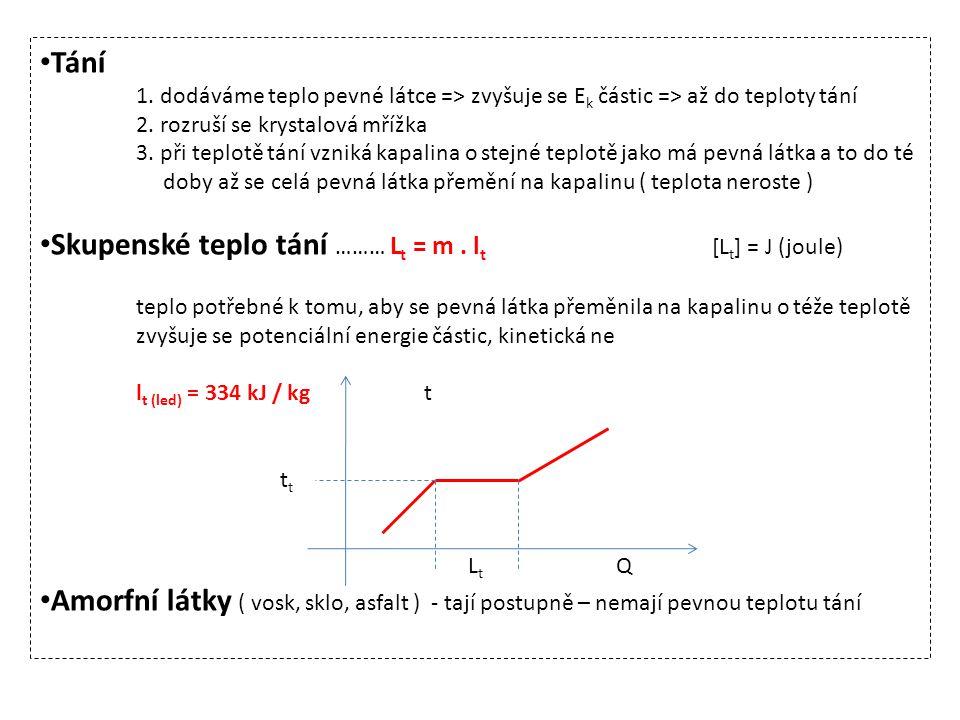 Skupenské teplo tání ……… Lt = m . lt [Lt] = J (joule)